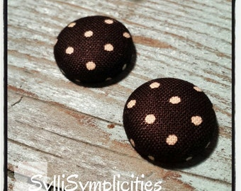 Black with White polka dot fabric button earrings
