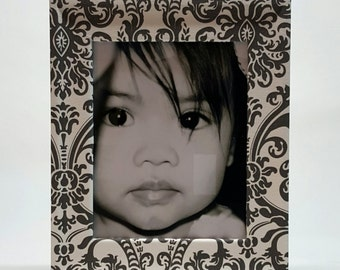 Grey Damask Fabric Wrapped Frame