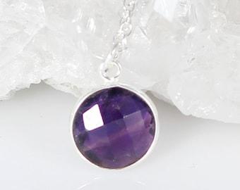 Natural Amethyst Sterling Silver Necklace-Round Bezel Purple Amethyst Gemstone 10mm-Raw Amethyst Silver Necklace-February Birthstone