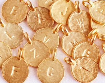 2 Vermeil Gold Initial Charms-12mm Matte Gold Sterling Letter Charms-Hammered Gold Alphabet Pendants-Stamped Gold Letter Cast Discs-Arial