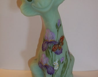 Fenton Glass Jadeite Green Iris & Butterfly Alley Cat Limited Edition #8/12 GSE