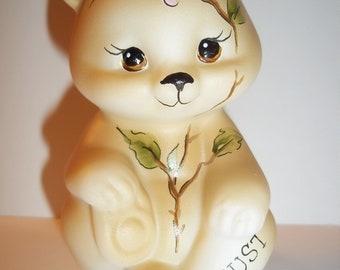 Fenton Glass August Birthday Magnolia Flower Sitting BEAR Figurine GSE K Barley Limited Edition #4