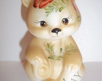 Fenton Glass May Birthday Anemone Flower Sitting BEAR Figurine GSE K Barley Limited Edition #4
