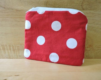 Red Polka Dot Zippered Coin Purse
