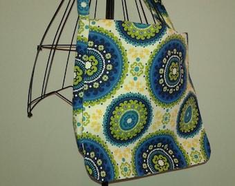 Blue Yellow Green Fabric Messenger Bag