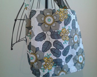 Yellow, Gray, and Mint Fabric Messenger Bag