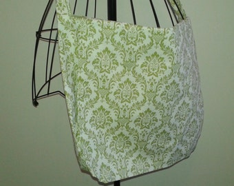 Green and Ivory Patterned Messenger Bag