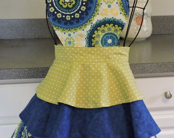 Kid's 3 Tier Blue and Green Full Apron