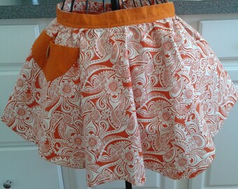 SALE Orange and Paisley Reversible Half Apron w/ Pockets