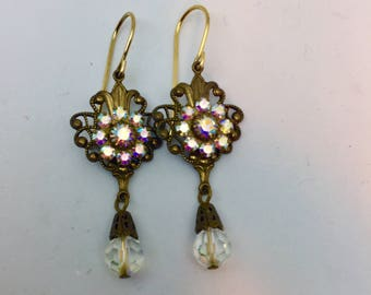 Hanging Crystal Antique Earrings