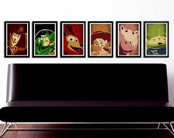 Toy Story Poster Set of 6 – wall decor 11 x 17 Woody Buzz Slinky Dog Hammy Jessie Alien