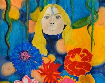 "HUGE Print of Original Mixed Media Art Modern Art Fine Art Colored Pencil Oil Pastel Chalk Pastel Large Size 35"" x 42"""