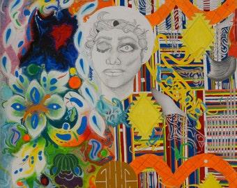 "LARGE Print of Original Mixed Media Art Modern Art Wall Art Fine Art Gouache Acrylic Pastel Painting Large Size 22.5"" x 28"""