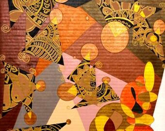 """Original Art Modern Art Wall Art Fine Art Abstract Mixed Media Artwork Medium Size 16"""" x 24"""""""