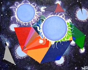 "Original Acrylic Art Modern Art Wall Art Fine Art Abstract Mixed Media Artwork Medium Size 16"" x 12"""