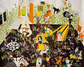 """HUGE Original Collage Art Modern Art Wall Art Fine Art Abstract Mixed Media Artwork Large Size 48"""" x 40"""""""