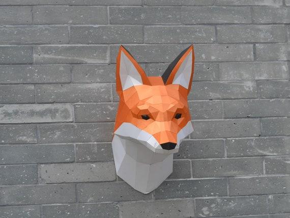 Fox Head Sculpture Pre Cutting Diy Papercraft Kit Etsy