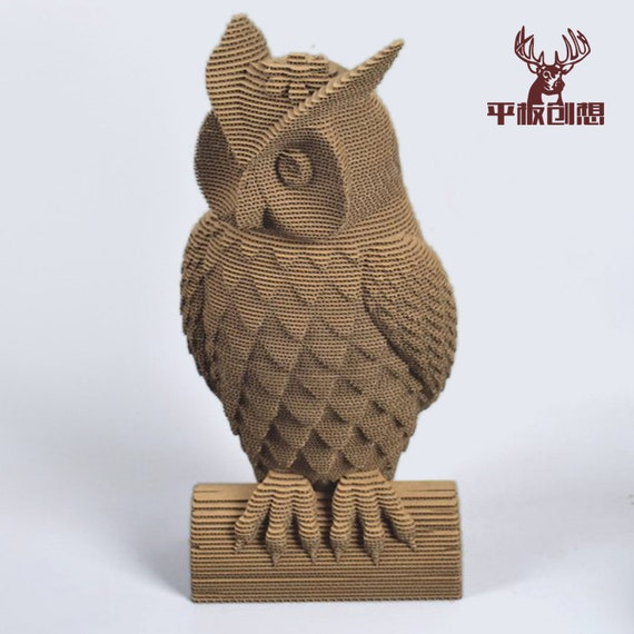 Owl Girl Diy Cardboard Sculpture Diy Papercraft 3d Wall Arthome Decor Corrugated Board Animal Wall Decordiy Gift