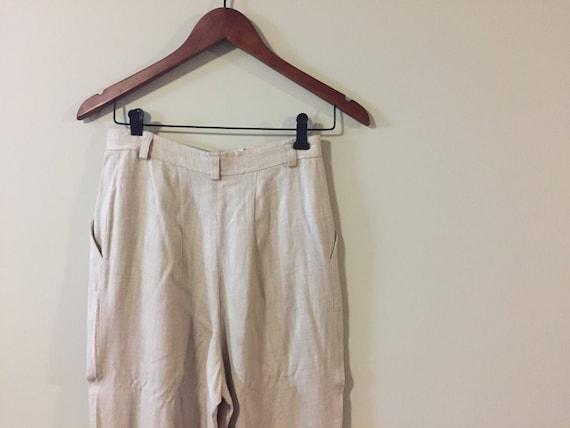 Ladies High Waisted Cream/Beige Pants