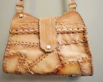 Small, Hand-Tooled Patchwork Leather Purse, Hand Crafted Handbag