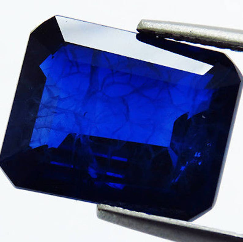 Lab Created Synthetic Blue Sapphire With Visible Inclusions Octagon Faceted  Loose Stones (6x4mm - 18x13mm)