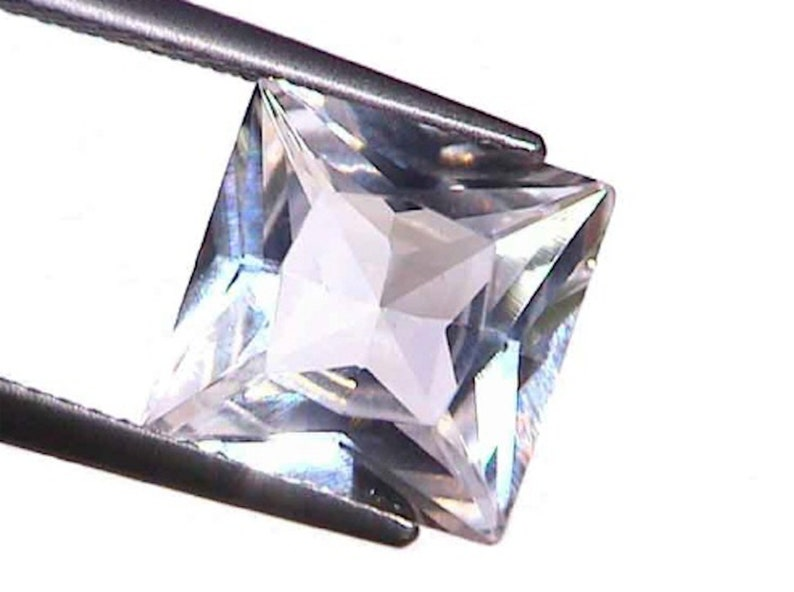 Synthetic Lab Created White Sapphire Corundum Square Princess Faceted Loose  Stones (1 5x1 5mm - 15x15mm)
