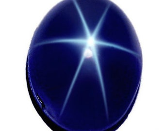 Natural Blue Star Sapphire Oval Cabochon 6 Rays Top Quality (7x5mm - 12x10mm) Loose Stones