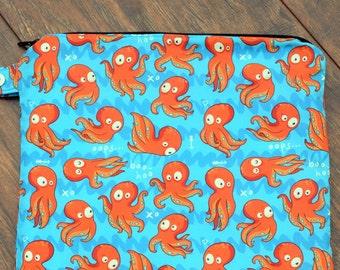 Silly Octopus Wet Bag~ Ocean ~ PUL Bag, Swim, Beach, Travel, Summer, Child Bag