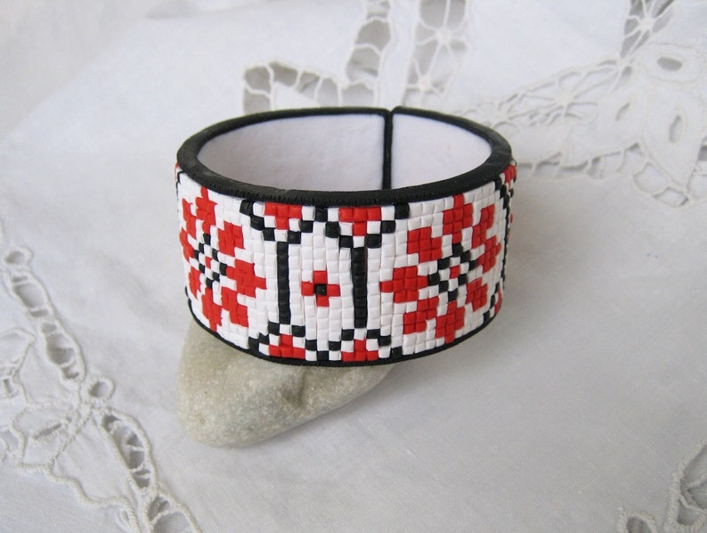Tribal bracelet Ethnic jewelry mosaic ornament Polymer clay image 0