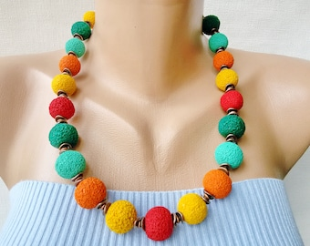 colorful jewelry yellow orange beaded necklace red green women gift her Valentines day bright summer colorful multicolor necklace  jewelry