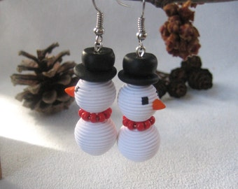 Long white earrings snowman Christmas jewelry cute dangle earrings Xmas gift holiday New Year gift best friend Snow Man polymer clay jewelry