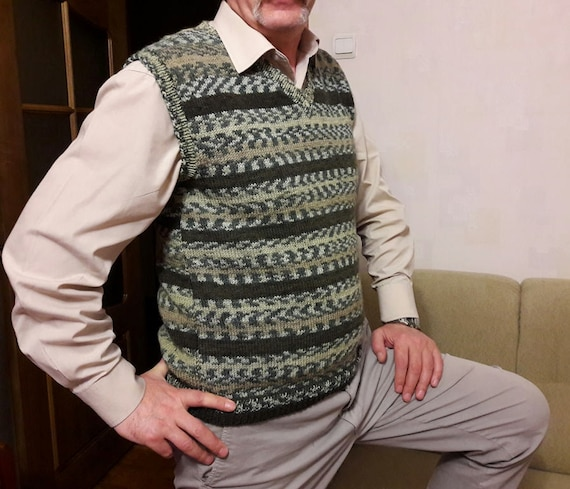 Men Sweater Vest Green Hand Knit Cardigan Men Sleeveless Etsy