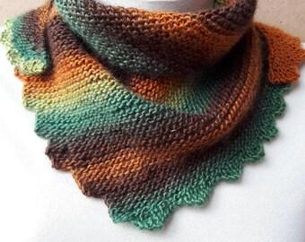 Hand knit shawl Green brown Triangular shawl knitted woman children scarf christmas gift teen Neck warm shawl stylish accessory Hand knit