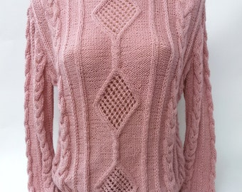 Woman clothing pink cable knit Sweater chunky soft warm perfect winter gift for woman fashion pullover hand knit sweater Valentine gift