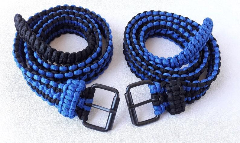 Blue black cobra knot belt paracord 550 mens belt black image 0