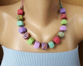 Colorful necklace women Summer gift idea girl jewelry Pastel cubes beads necklace Sweet Marshmallow necklace birthday gift Clay jewelry