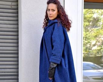 Italian Large women felt wool coat Made in Italy Women clothing 1990s