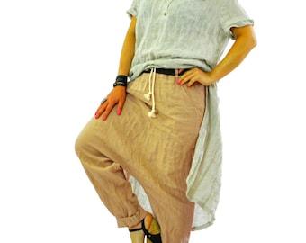 Linen Pants, Women Pants, Drop Crotch Pants, Wide Leg Pants, Baggy Pants, Loose Linen Pants, Linen Clothing, Plus Size Linen Pants, Gabyga