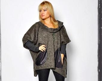 Dark green wool tunic / long sleeves Hooded Tunic/ Plus size tunic / Casual Maxi Woman / Winter Tunic/ Winter tunic / Plus size clothing
