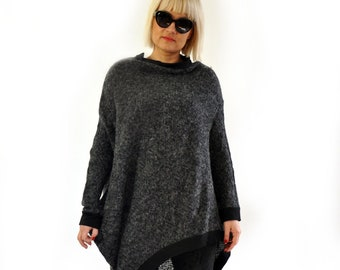 Wool Sweater, Asymmetric Sweater, Winter Sweater, Plus Size Clothing, Women Pullover, Wool Jumper, Loose Sweater, Wool Pullover, Gabyga