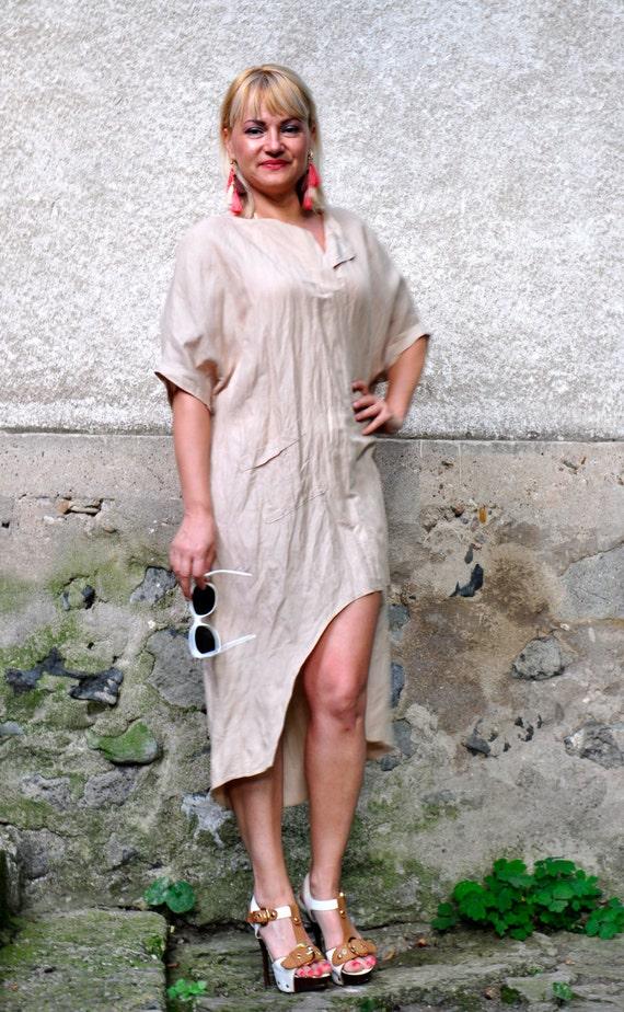 short Linen Plus casual size shirt shirt Beige tunic tunic tunic Maxi Beige summer T0211 linen Hand dress made shirt dress Loose 100 nUwaq0v4