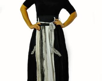 Winter Skirt, Black And White Skirt, Long Skirt, Extravagant Skirt, Casual Skirt, Pockets Skirt, Women Skirt, Maxi Skirt, Cotton Skirt