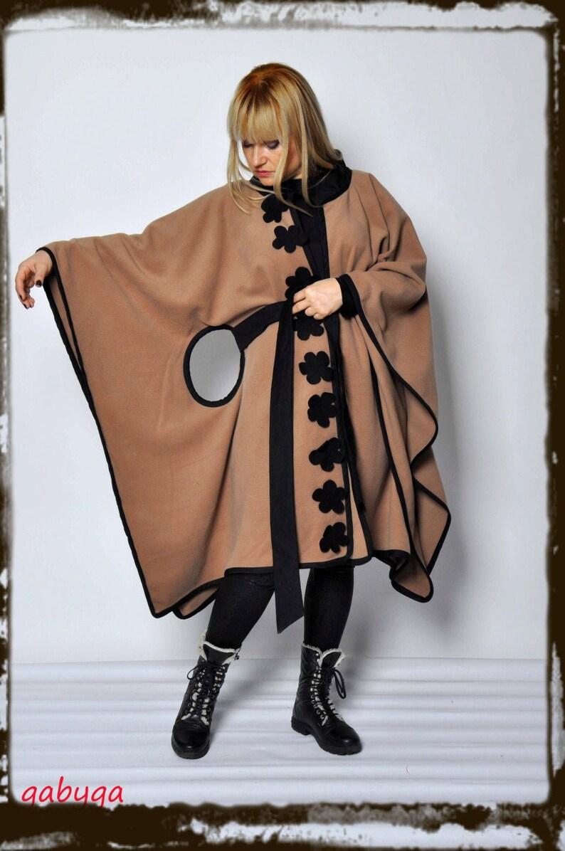 Beige Wool Cashmere Cape/ Wool oversize beige coat/ image 0