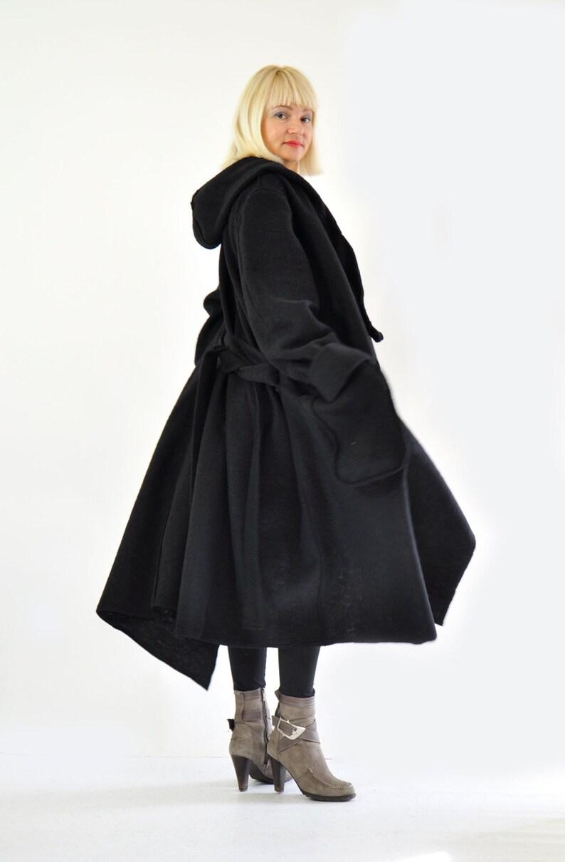 Plus Size Coat Hooded Coat Wool Coat Women Coat Long Coat image 0