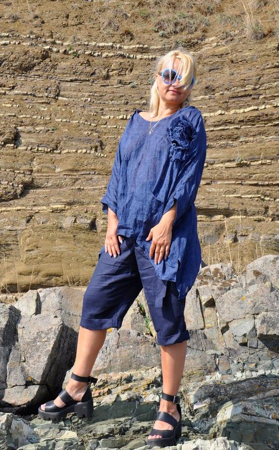 6dd6aa9f9f8 Dark Blue Linen Maxi Tunic Oversize hooded top Maxi loose