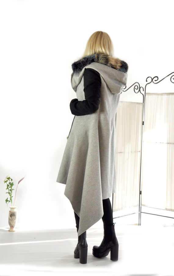 casual coat Wool Grey Casual zipper 100 coat Coat coat black Extravagant Winter C0248 Lining Warm Long Wool and Woman coat Asymmetric 7qH5a