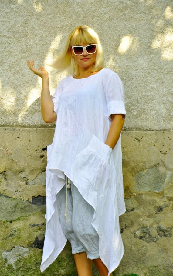 Linen Tunic Plus size Linen Top Shirt Dress Organic Natural white Linen Loose Summer Dress Linen Women Tunic RESERVED-Linen Blouse