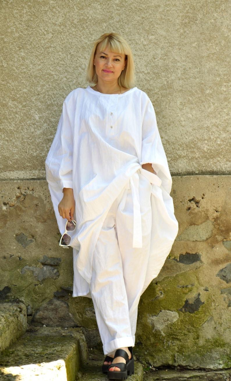 White Linen Outfit For Women Linen Pants Linen Clothes Plus image 0
