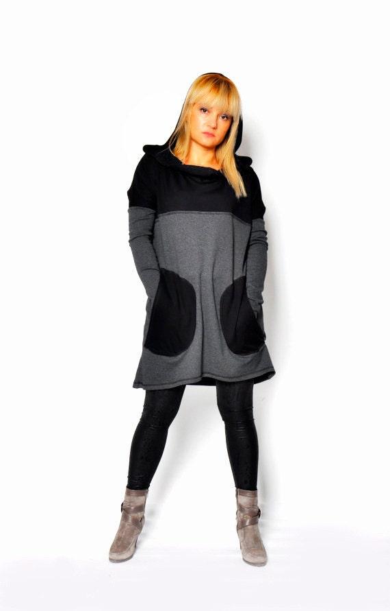 Tunic Oversize Size Gray Dress Tunic Maxi Dress Hooded Black Hooded