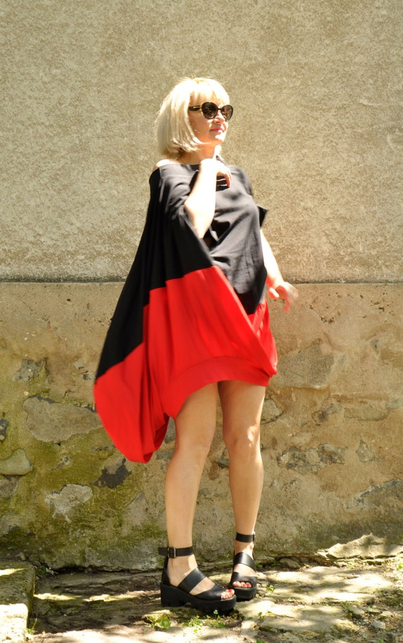 dress T1482 Extravagant black Sexy Maxi Handmade tunic Lycra and Oversize blouse top Loose red Sleeveless black tunic tunic tunic dress red HxFwqR